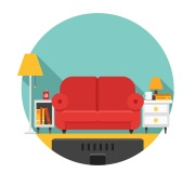 Sofá y televisor