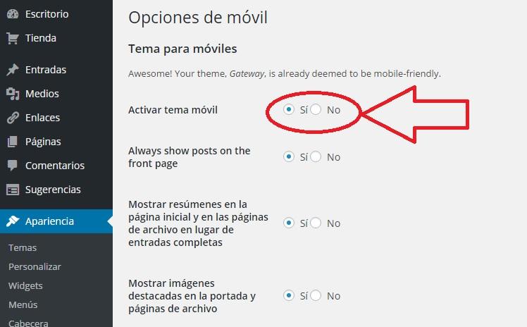 Permitir móvil web responsive